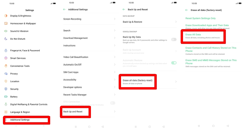 Factory reset Oppo A79 via Settings