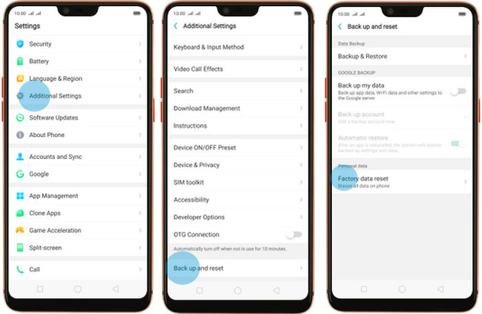 Factory reset Oppo Reno Lite from Settings